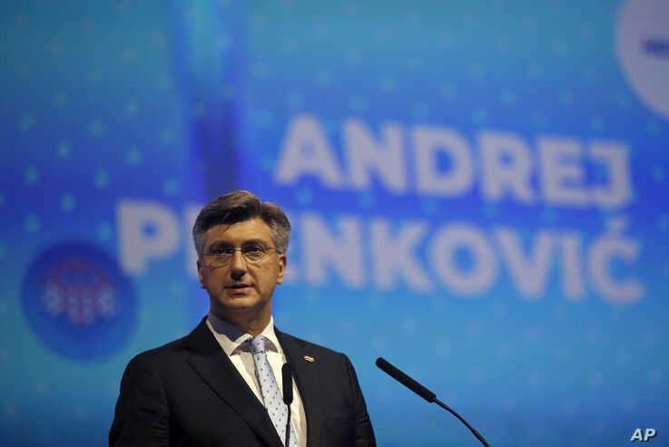 Croatia's prime minister Andrej Plenkovic speaks during the European Peoples Party (EPP) congress in Zagreb, Croatia, Wednesday…