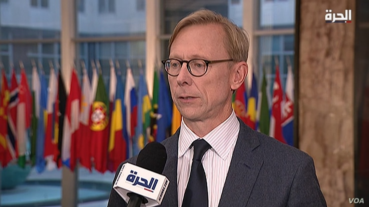 U.S. Special Representative for Iran Brian Hook speaks to Alhurra TV at the State Department in Washington, Nov. 4, 2019.