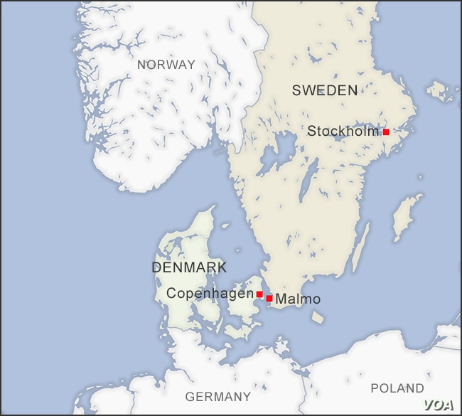 Map of Denmark and Sweden