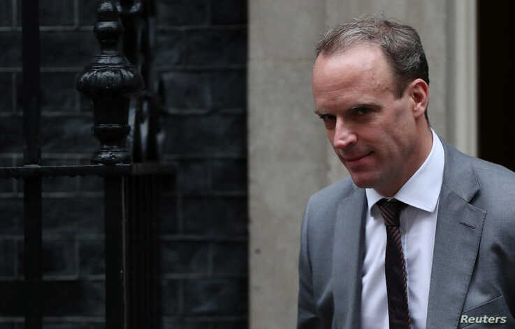 Britain's Foreign Secretary Dominic Raab is seen outside Downing Street in London, Britain October 24, 2019. REUTERS/Hannah…