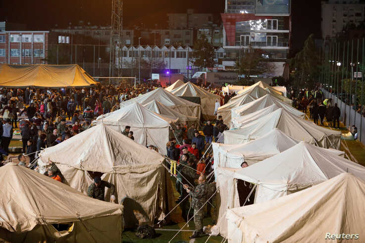 A general view of damnified at a makeshift camp in Durres, after an earthquake shook Albania, Nov. 26, 2019.