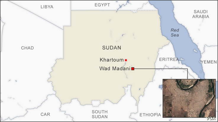 Map of Wad Madani Sudan