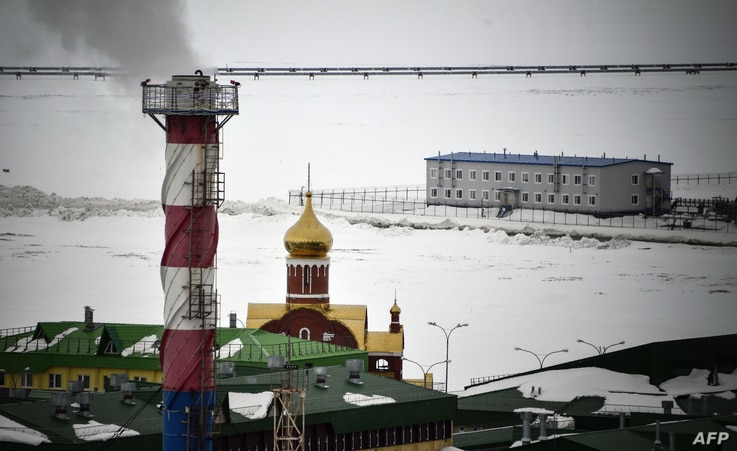 FILE - A view of the main base of the Bovanenkovo gas field on the Yamal peninsula in the Arctic circle, May 21, 2019.