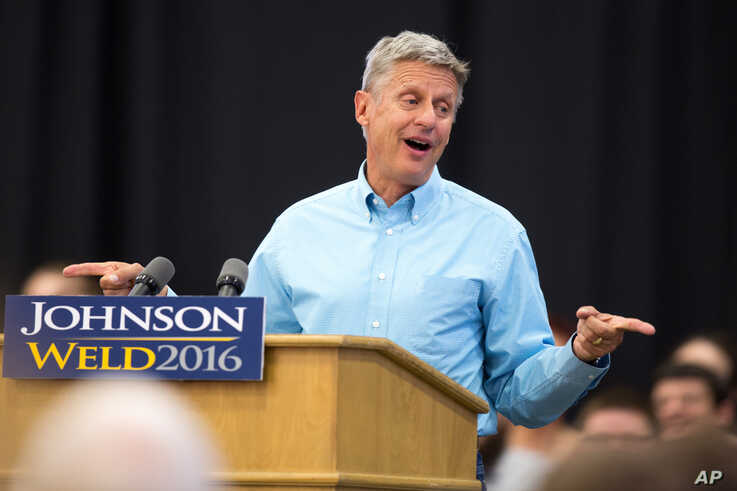 FILE - Libertarian presidential candidate Gary Johnson speaks during a campaign rally, Sept. 3, 2016, at Grand View University in Des Moines, Iowa.