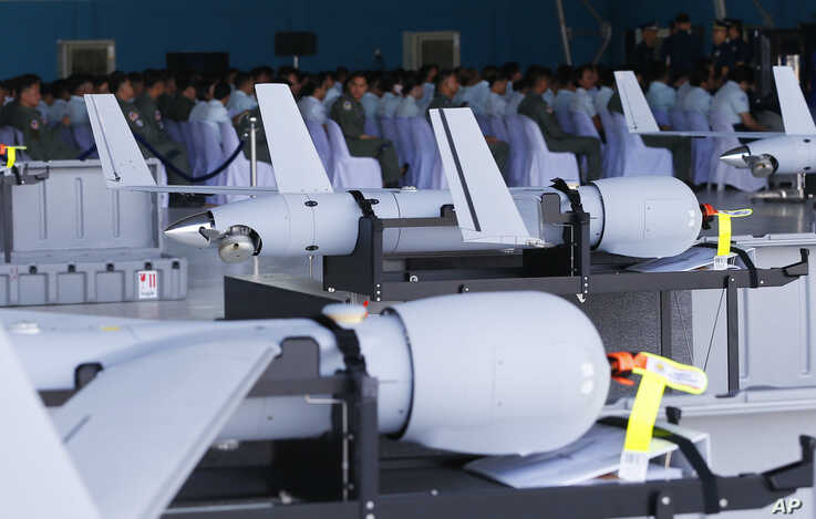 FILE - U.S. ScanEagle drones are lined up for the formal turnover, March 13, 2018, at Villamor Air Base in suburban Pasay city, southeast of Manila, Philippines.