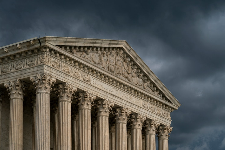 FILE - The Supreme Court building is seen under stormy skies in Washington, June 20, 2019.