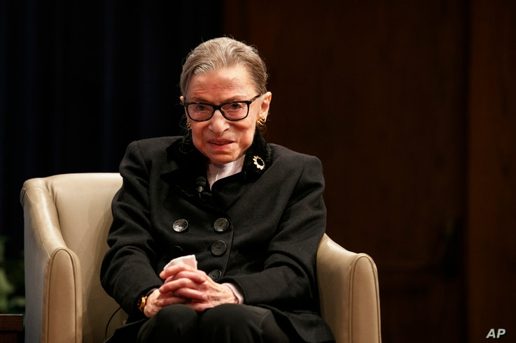 Supreme Court Justice Ruth Bader Ginsberg attends Georgetown Law's second annual Ruth Bader Ginsburg Lecture, Oct. 30, 2019, in Washington.