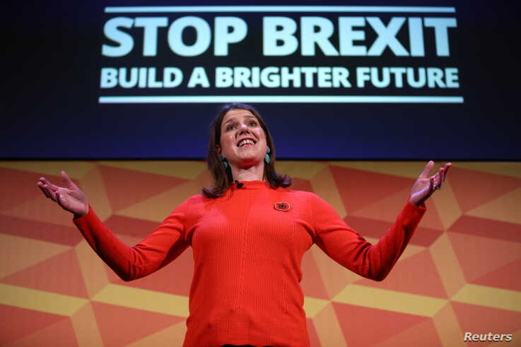 Leader of Britain's Liberal Democrats Jo Swinson reacts as she speaks at a campaign event in London, Britain, Nov. 9, 2019.