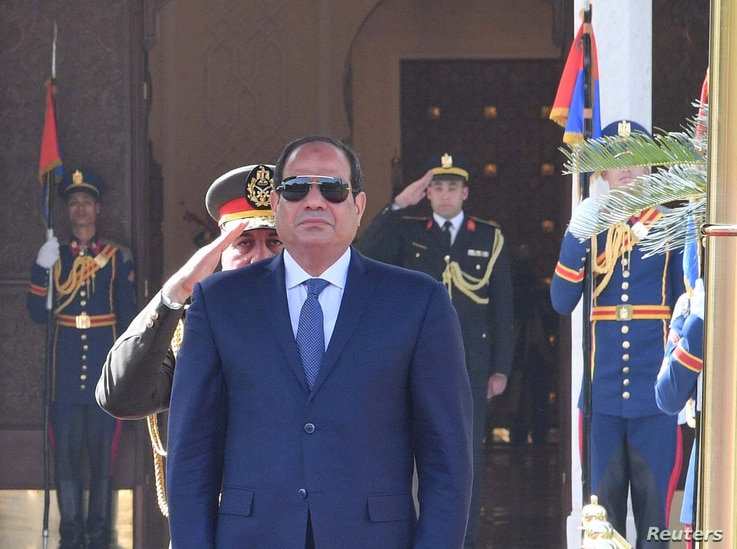 FILE - Egyptian President Abdel Fattah el-Sissi attends a ceremony at the Ittihadiya presidential palace in Cairo, Egypt, Jan. 27, 2019, in this handout picture provided by the Egyptian Presidency.