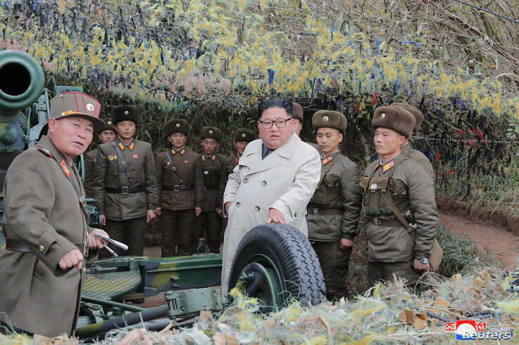 North Korean leader Kim Jong Un visits the Changrindo defensive position on the west front, in this undated picture released by North Korea's Central News Agency (KCNA), Nov.25, 2019.