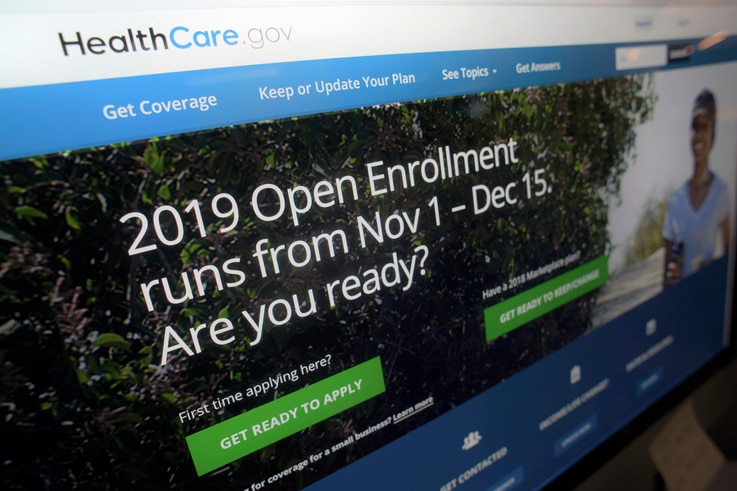 This Tuesday, Oct. 23, 2018 photo shows HealthCare.gov website on a computer screen in New York. The sign-up period for next…