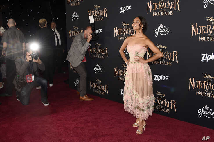 "Ballet dancer Misty Copeland, a cast member in ""The Nutcracker and the Four Realms,"" poses at the premiere of the film at the…"