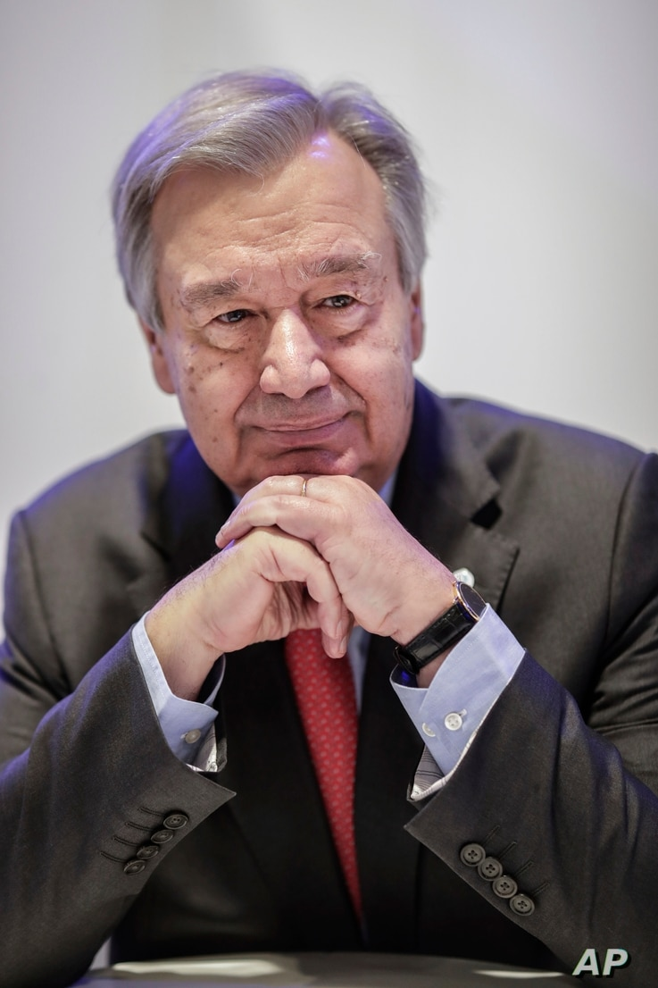 U.N. Secretary-General Antonio Guterres poses for a portrait during an interview with The Associated Press at the COP25 climate…