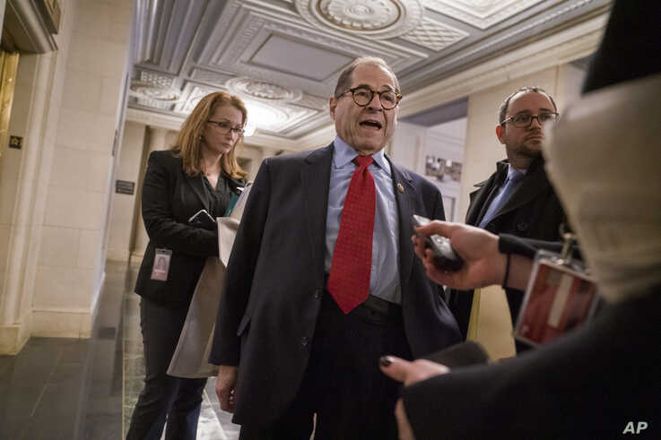 House Judiciary Committee Chairman Jerrold Nadler, D-N.Y., speaks with reporters after a closed-door session