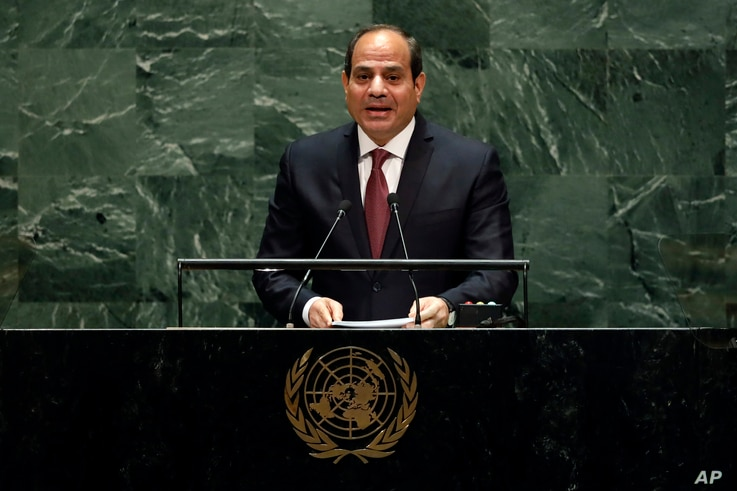 FILE - In this Sept. 24, 2019 file photo, Egypt's President Abdel Fattah el-Sisi addresses the 74th session of the United…