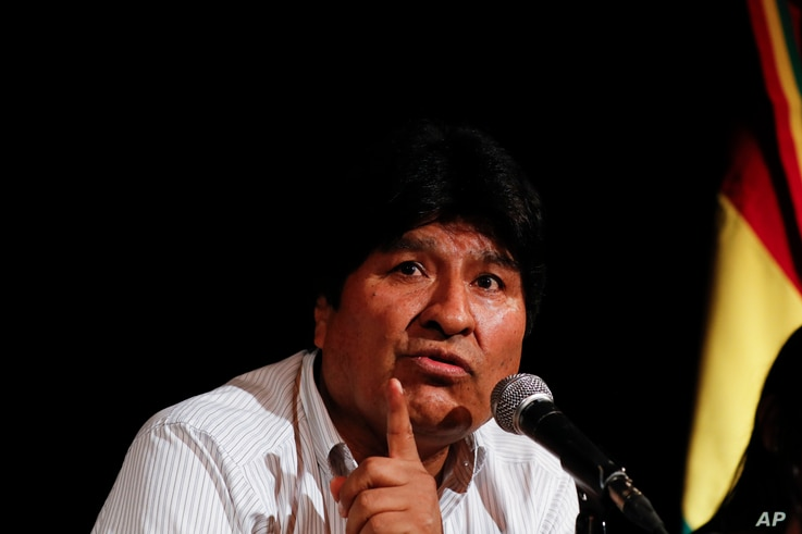 Bolivia's former President Evo Morales gives a press conference in Buenos Aires, Argentina, Tuesday, Dec. 17, 2019. Morales…