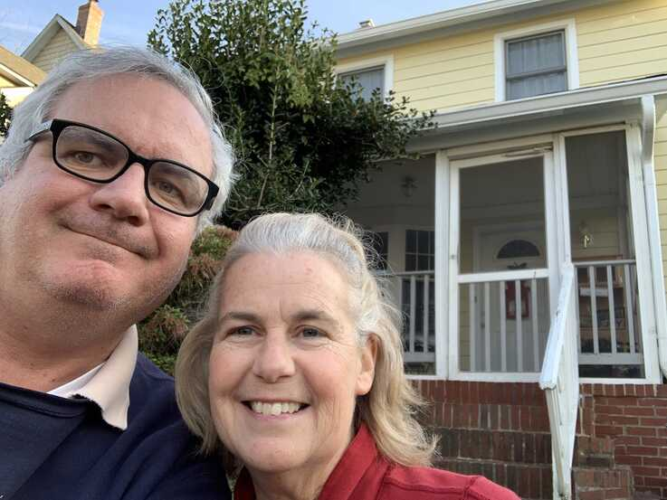 Patrick and Francine Harrington in front of their Washington-area rental home, Dec. 26, 2019. (Photo by Patrick Harrington)