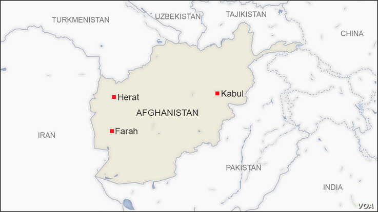 Map of Herat and Farah Afghanistan