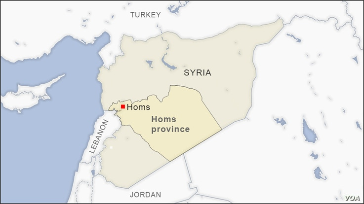 Map of Homs Syria