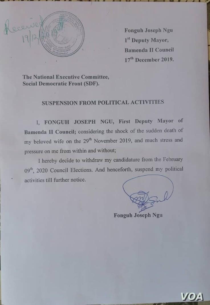 The resignation letter of Fonguh Joseph Ngu, first deputy mayor of Bamenda II Council