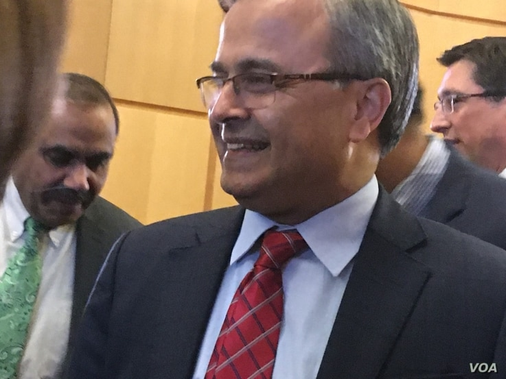 Asad Majeed Khan, Pakistan's ambassador to the United States, is seen at an Ambassadors Dialogue event in Washington, Dec. 16, 2019. (Natalie Liu/VOA News)