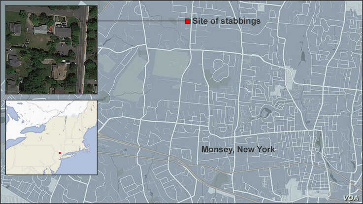 Map of Monsey, New York, showing the site of the stabbings 12/28/2019