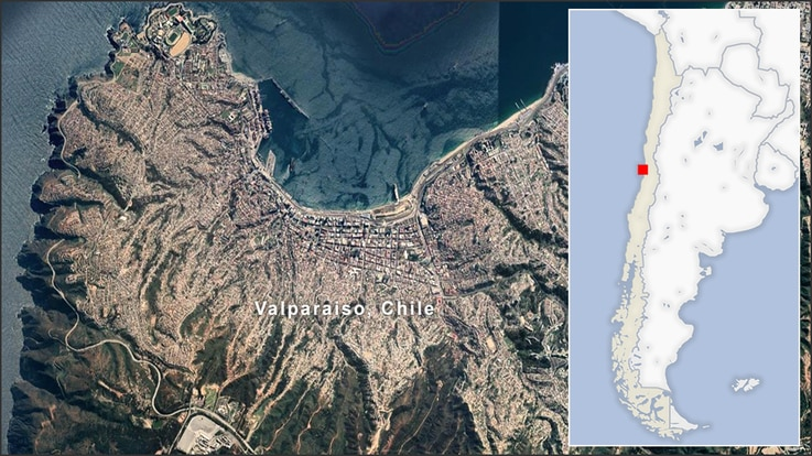 Map of Valparaiso Chile