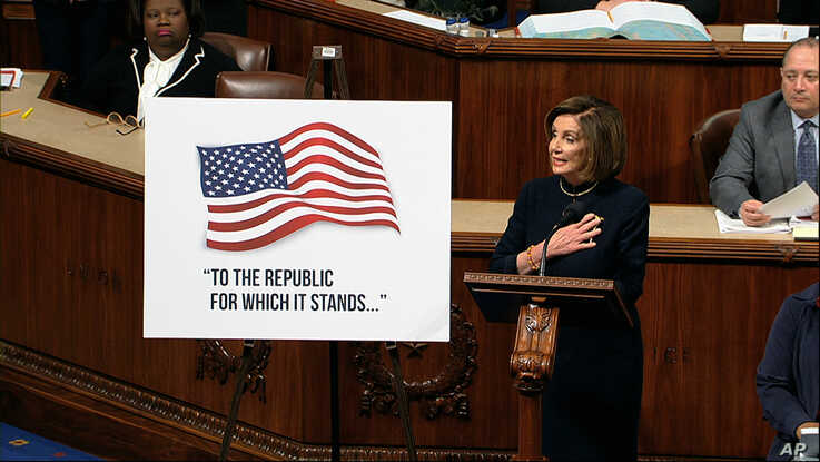 House Speaker Nancy Pelosi speaks as the House of Representatives debates the articles of impeachment against President Donald Trump, at the Capitol in Washington, Dec. 18, 2019.