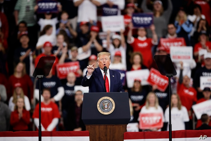 FILE - President Donald Trump speaks during a campaign rally in Hershey, Pennsylvania, Dec. 10, 2019.