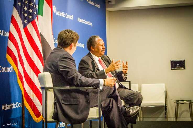 Sudan's Prime Minister Abdalla Hamdok speaks at the Atlantic Council, a Washington think tank, during his recent visit to the U.S. capital. (Twitter - @SudanPMHamdok)