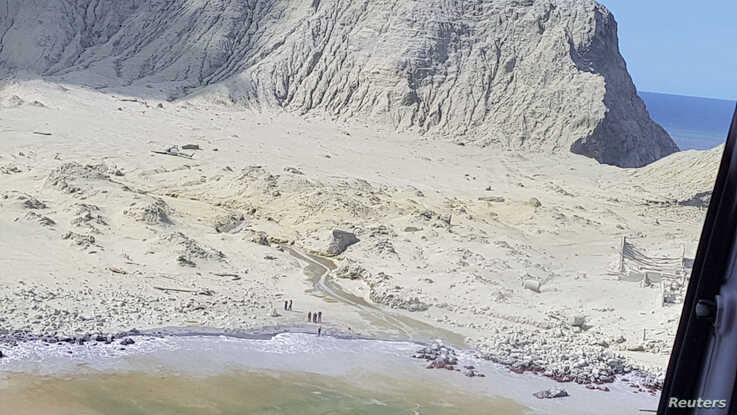 A view of White Island, New Zealand after a volcanic eruption, Dec. 9, 2019, in this picture obtained from social media. (Credit: Auckland Rescue Helicopter Trust)