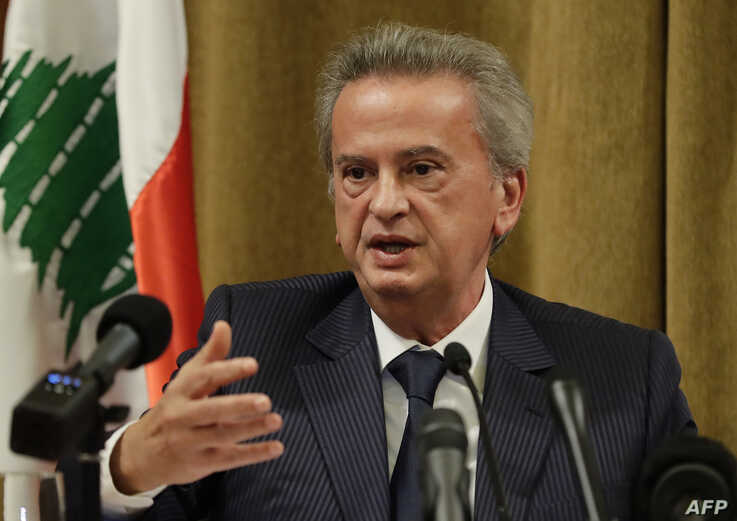 Lebanon's Central Bank Governor Riad Salameh gestures as he speaks during a press conference at the bank's headquarters in…