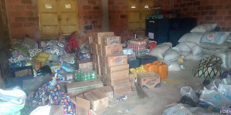 A storehouse at the Durumi camp where food supplies from donors are kept before they are distributed to IDPs. January 1, 2020. (T. Obiezu/VOA)