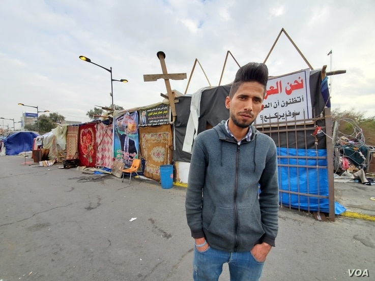 Karrar, 18, says he protests every day against corruption and poverty on Jan. 21, 2020. (Heather Murdock/VOA)