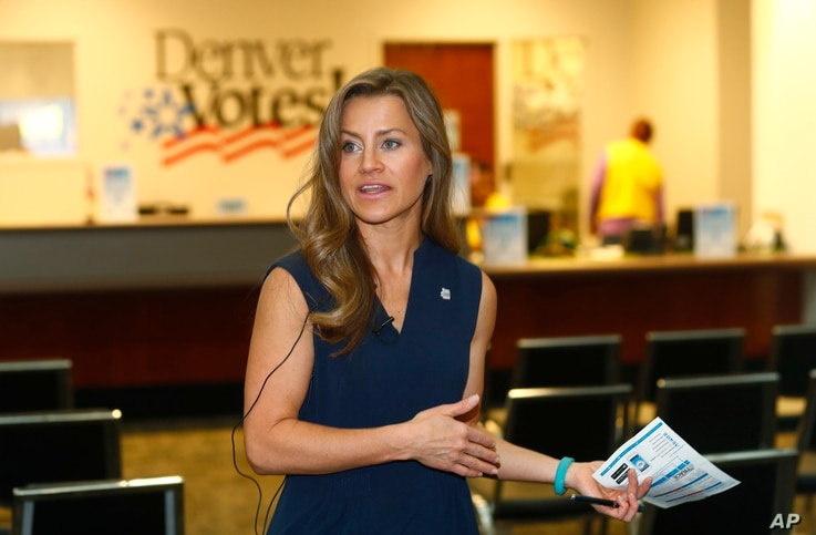Amber McReynolds, director of elections for the City and County of Denver, talks during a media tour of the Denver Elections…