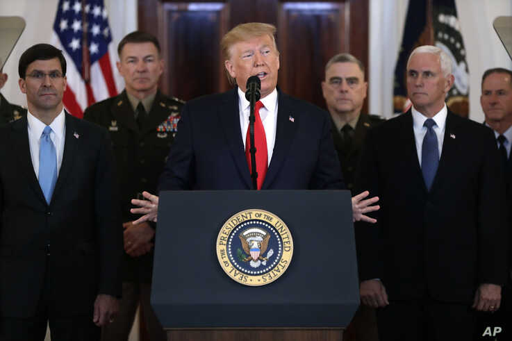 President Donald Trump addresses the nation from the White House on the ballistic missile strike that Iran launched