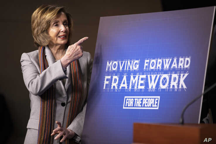 House Speaker Nancy Pelosi of Calif., gestures during a news conference unveiling House Democrats' new infrastructure framework…