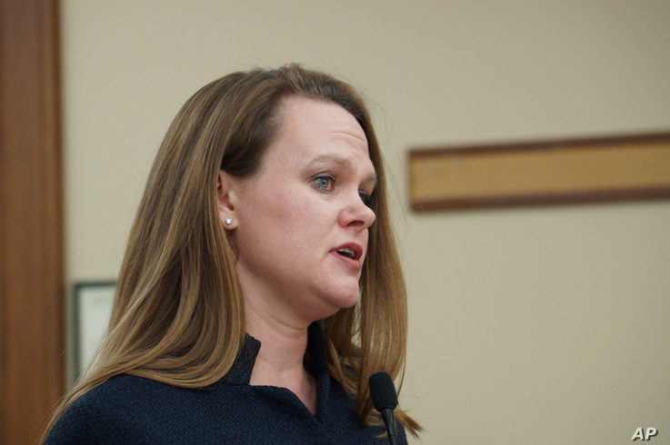Montana Rep. Kimberly Dudik, D-Missoula, introduces a bill in the Montana House Education Committee in Helena, Mont., Wednesday…