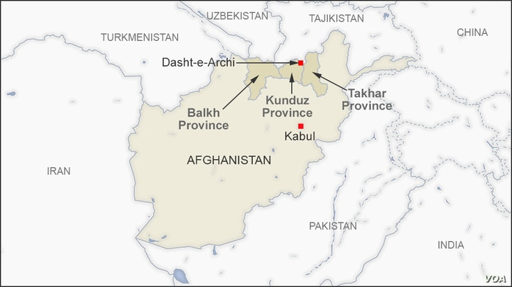 Map showing Kunduz, Balkh and Takhar provinces, and the town of Dasht-e-Archi, Afghanistan