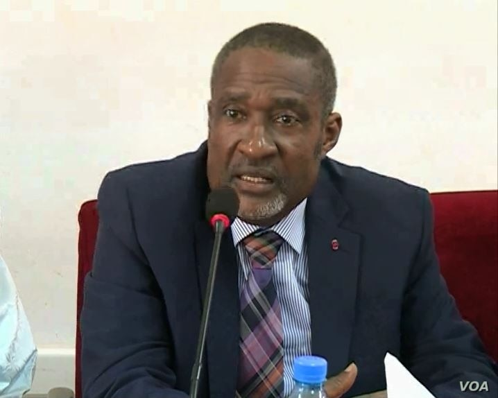 Enow Abrams Egbe, board chair of Cameroons Elections Management Body ELECAM, vows Cameroonian elections will take place, in Bamenda, Jan. 21, 2020. (Moki Edwin Kindzeka/VOA)