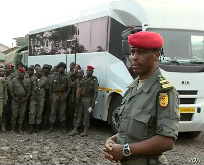 Col. Henri Tchinda, a military police commander in Cameroon's Southwest region, arrives in Buea, January 9, 2020. (M. Kindzeka/VOA)