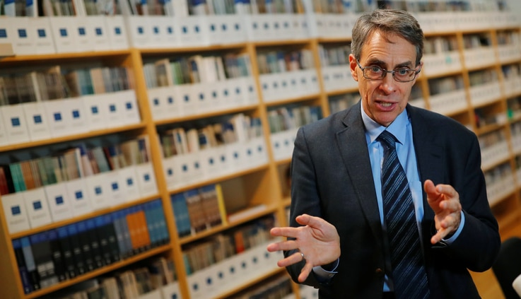 Human Rights Watch Executive Director Kenneth Roth speaks during an interview with Reuters in Berlin, Germany, January 16, 2019...