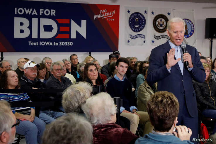 "FILE PHOTO: Democratic 2020 U.S. presidential candidate and former U.S. Vice President Joe Biden speaks during his ""No Malarkey…"