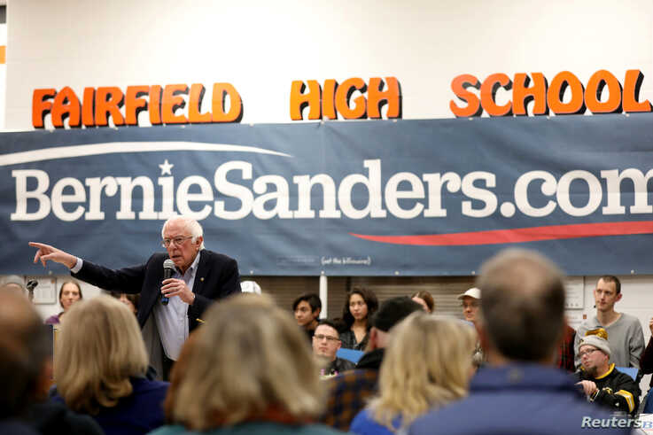 Democratic U.S. presidential candidate Senator Bernie Sanders speaks during a campaign rally at Fairfield High School in…