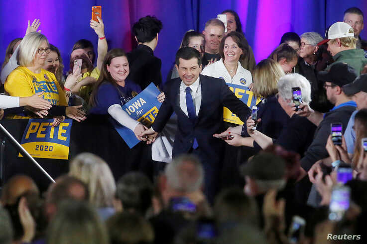Democratic presidential candidate Pete Buttigieg greets attendees during a campaign event where he is endorsed by actor Kevin…