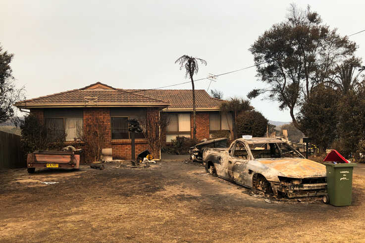 A view of a property impacted by the Currowan Fire in Conjola Park, NSW, Australia, January 2, 2020. Picture taken January 2,…
