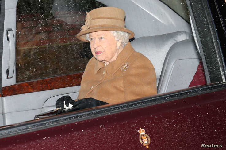 FILE PHOTO: Britain's Queen Elizabeth departs from St Mary Magdalene's church on the Sandringham estate in eastern England,…