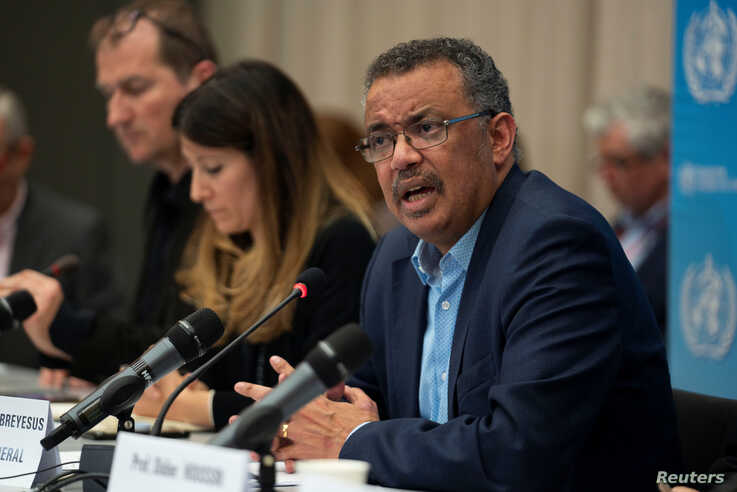 Director-General of WHO Dr Tedros Adhanom Ghebreyesus speaks during a news conference following the second meeting of the…