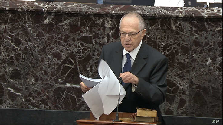 In this image from video, Alan Dershowitz, an attorney for President Donald Trump, speaks during the Trump's impeachment trial in the Senate at the Capitol in Washington, Jan. 27, 2020.