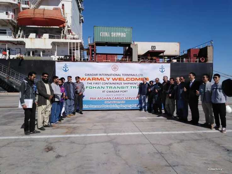 Representatives mark the arrival of the first ship with Afghan-imported cargo, at Gwadar, Pakistan, Jan 14, 2020 (Courtesy - Chinese Embassy)